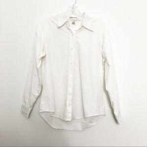 Anne Klein White Button Down Shirt Petite Medium